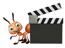 Fun Ant cartoon character with clapper board. 3d rendered illustration of Ant cartoon character with clapper board Stock Image