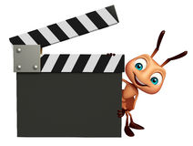 Fun Ant cartoon character with clapper board. 3d rendered illustration of Ant cartoon character with clapper board Royalty Free Stock Images