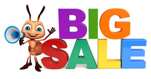 Fun Ant cartoon character with loudspeaker and big sale sign. 3d rendered illustration of Ant cartoon character with loudspeaker and big sale sign Royalty Free Stock Photography
