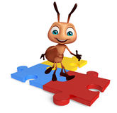 fun Ant cartoon character  with puzzle Royalty Free Stock Photo