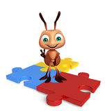 fun Ant cartoon character with puzzle Stock Photography