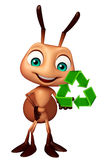 Fun Ant cartoon character with recycle sign. 3d rendered illustration of Ant cartoon character with recycle sign Royalty Free Stock Photo