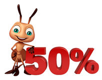 Fun Ant cartoon character  with 50% sign. 3d rendered illustration of Ant cartoon character with 50% sign Stock Photos
