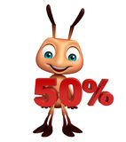 Fun Ant cartoon character with 50% sign. 3d rendered illustration of Ant cartoon character with 50% sign Royalty Free Stock Photography