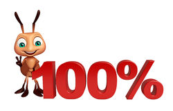 Fun Ant cartoon character with 100% sign. 3d rendered illustration of Ant cartoon character with 100% sign Royalty Free Stock Photography