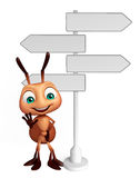 Fun Ant cartoon character with way sign. 3d rendered illustration of Ant cartoon character with way sign Stock Photo