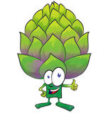 Fun artichoke cartoon Stock Images