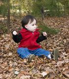 Fun in autumn. Girl playing in leaves royalty free stock photography