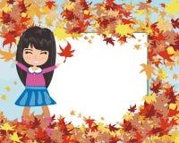 Fun in the autumn day - autumn frame Stock Photo