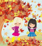 Fun in the autumn day. Vector Illustration Royalty Free Stock Images