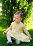 Fun baby girl in dress sitting on green grass Stock Photos