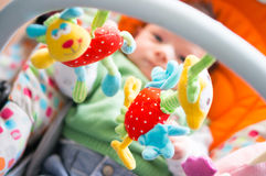 Fun with baby toys Royalty Free Stock Images