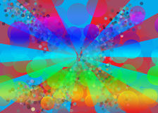 Fun Background. A starburst and colored circles are featured in an abstract background illustration Royalty Free Stock Photography