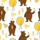 Fun background with bears, duck and trees. Original seamless pattern with forest animals Stock Photos