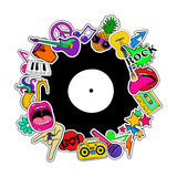 Fun Background Of Cartoon Musical Stickers. Stock Photos