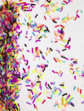 Fun background for holiday cards with colorful confetti Stock Photo