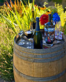 Fun backyard party. Drinks prepared in a backyard at the barrel decorated as a serving table Stock Image