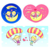 The fun a balloon and moon on Girls and boys Mascot. A couple of Royalty Free Stock Photos