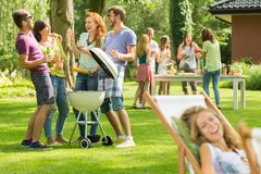 Fun with barbecue stock photo