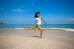 Fun at the beach stock photography