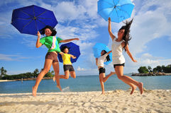 Fun at the Beach 52. Smiling faces at the beach Stock Images