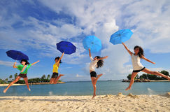 Fun at the Beach 53. Pictures of smiling faces at the beach Stock Image