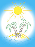 Fun Beach logo with palm tree. Vector vector illustration