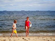 Fun on the beach. Royalty Free Stock Images