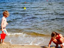 Fun on the beach. Royalty Free Stock Photography