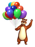 Fun Bear cartoon character with balloon. 3d rendered illustration of Bear cartoon character with balloon Royalty Free Stock Images