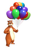 Fun Bear cartoon character with balloon. 3d rendered illustration of Bear cartoon character with balloon Royalty Free Stock Photography