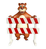Fun Bear cartoon character  with baracades Stock Photos