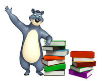 Fun Bear cartoon character with book stack. 3d rendered illustration of Bear cartoon character with book stack Stock Image