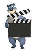 Fun Bear cartoon character with clapper board. 3d rendered illustration of Bear cartoon character with clapper board Stock Images