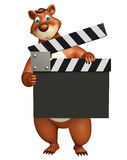 Fun Bear cartoon character with clapper board. 3d rendered illustration of Bear cartoon character with clapper board Royalty Free Stock Photos