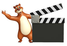 Fun Bear cartoon character with clapper board. 3d rendered illustration of Bear cartoon character with clapper board Stock Photos