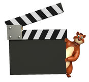 Fun Bear cartoon character with clapper board. 3d rendered illustration of Bear cartoon character with clapper board Stock Photo