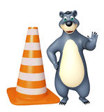 Fun Bear cartoon character  with construstion cone Stock Images