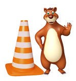 Fun Bear cartoon character  with construstion cone Royalty Free Stock Photography