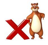 Fun Bear cartoon character with cross sign Stock Photos