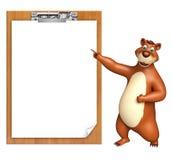 Fun Bear cartoon character with exam pad Royalty Free Stock Image