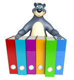 Fun Bear cartoon character with files Royalty Free Stock Photography