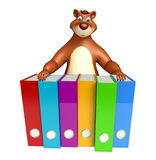 Fun Bear cartoon character with files Royalty Free Stock Image