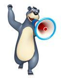 Fun Bear cartoon character with loudspeaker. 3d rendered illustration of Bear cartoon character with loudseaker Royalty Free Stock Photos