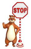 Fun Bear cartoon character with stop board Stock Photography