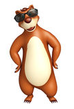 Fun Bear cartoon character with sunglass. 3d rendered illustration of Bear cartoon character with sunglass Stock Photography