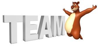 Fun Bear cartoon character with team sign Stock Images