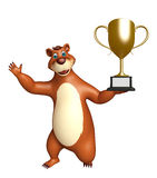 Fun Bear cartoon character with winning cup Royalty Free Stock Images