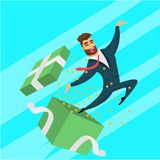 Fun bearded business men surprised. vector illustration