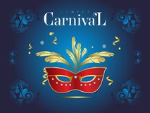 Venetian carnival banner with a luxurious mask and streamers in vector illustration stock illustration